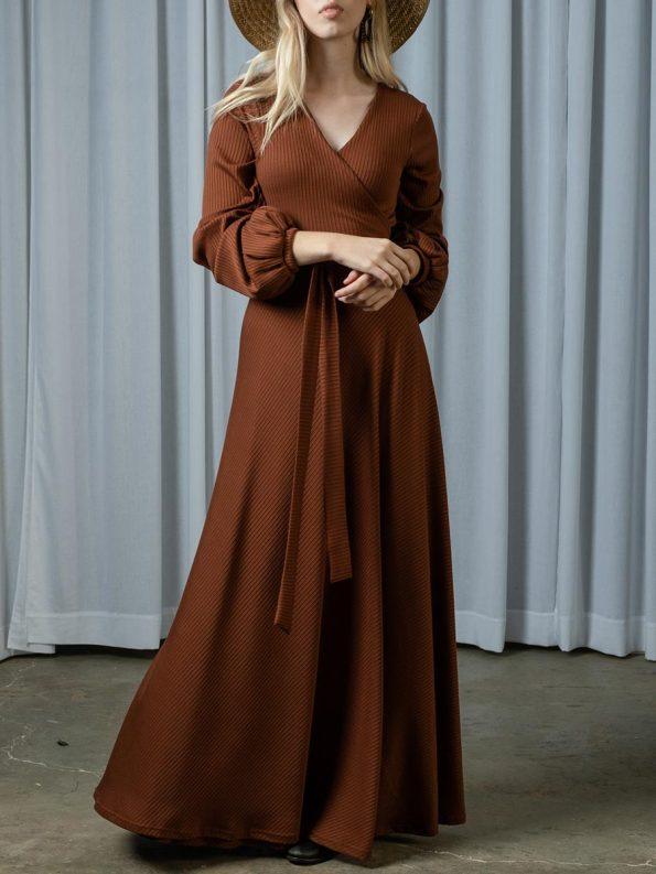 IDV Knit Maxi Wrap Dress Copper 2