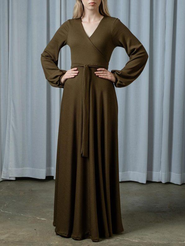 IDV Knit Maxi Wrap Dress Olive 2