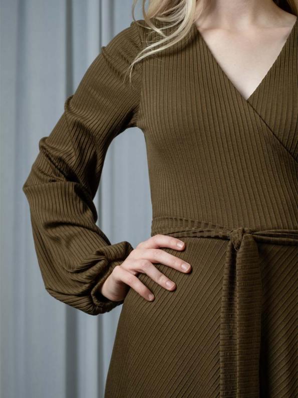 IDV Knit Maxi Wrap Dress Olive Detail