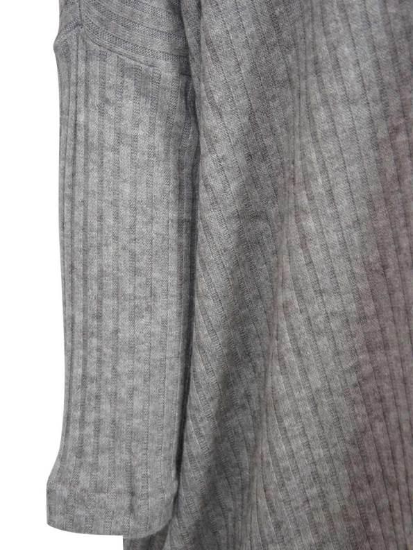 JMVB Boxy Knit Sweater Grey Rib Detail