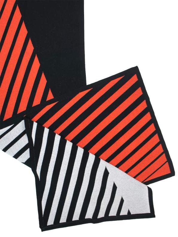 Romaria Striped Scarf Orange and Black Detail 3