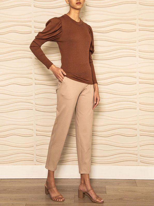Smudj Phoebe Knit Top Brown Angle