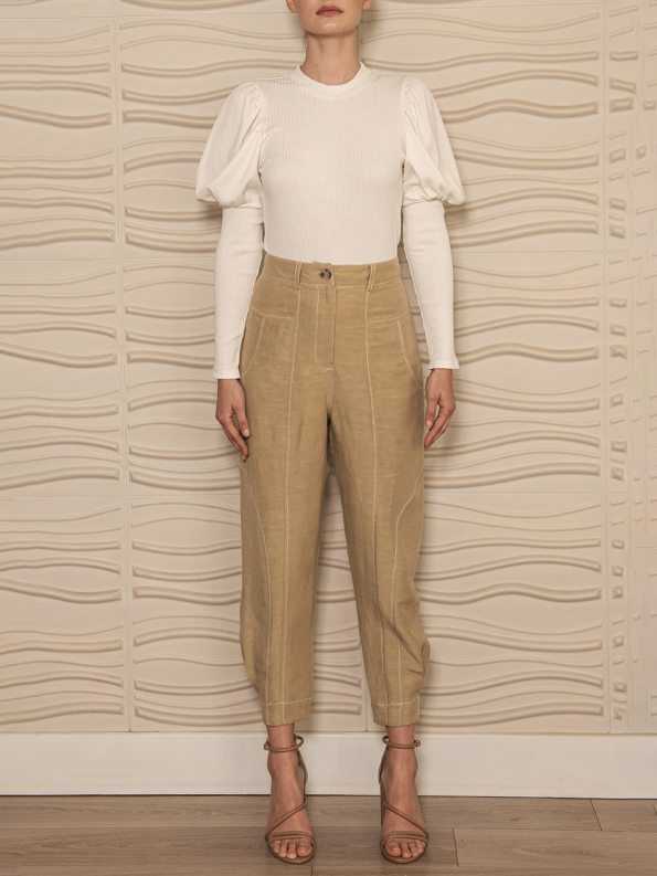 Smudj Phoebe Top Milk With Arco Pants Angle Front