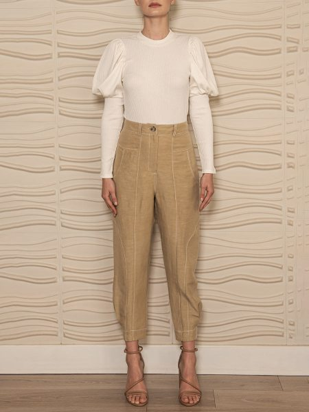 light brown linen pants with tapered leg South Africa