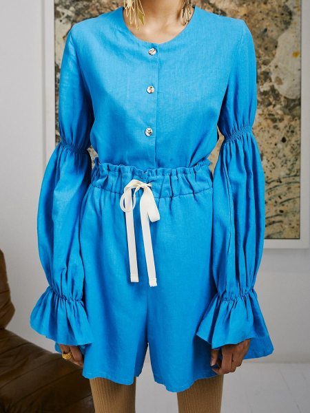 blue hemp blouse and shorts ladies South Africa