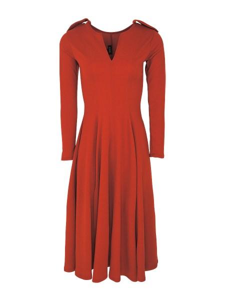Orange fit & flare dress women