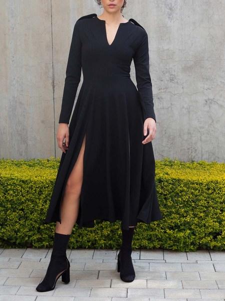 black midi dress with slits