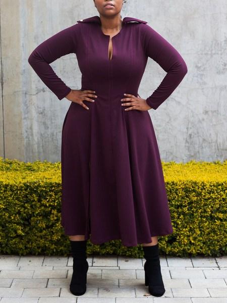 Purple dress curvey women