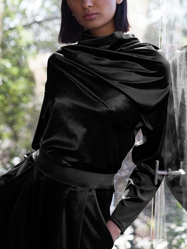 Erre Connoisseur Velvet Drape Top Black 2