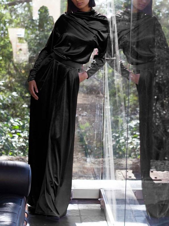 Erre Connoisseur Velvet Drape Top with Stride Pants Black 1