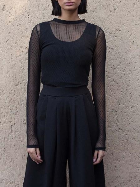 black polka dot mesh top