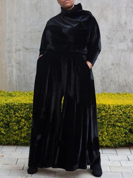 black velvet pants womens