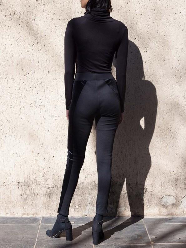 Erre Velvet Panel Leggings Black 2
