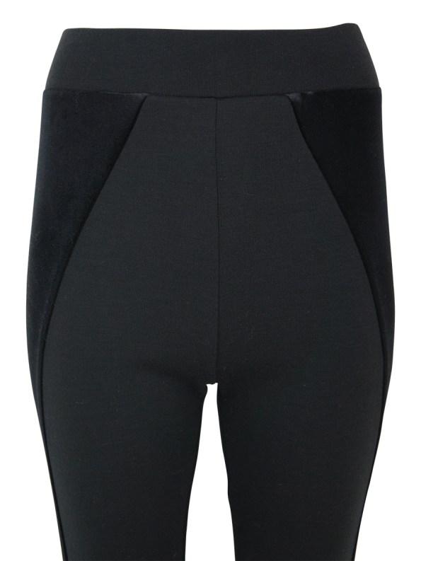 Erre Velvet Panel Leggings Black Closeup