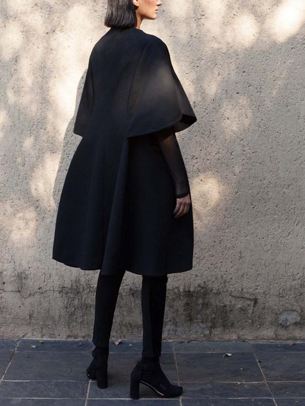 Erre Wool Cape Sleeve Coat Black 1