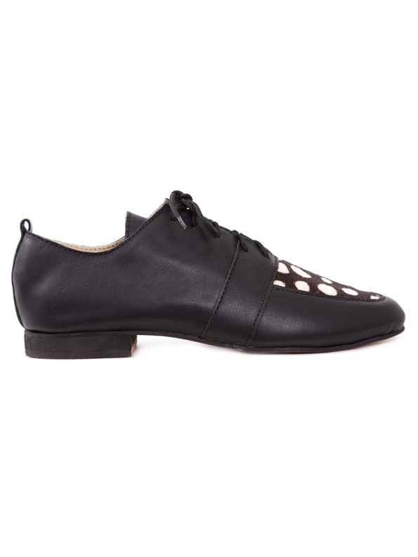 HoC Claudia Brogue Black and White Spot Side