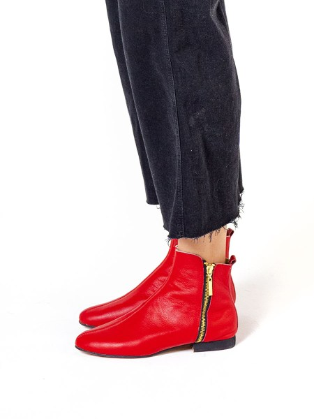 Red ankle boots for women