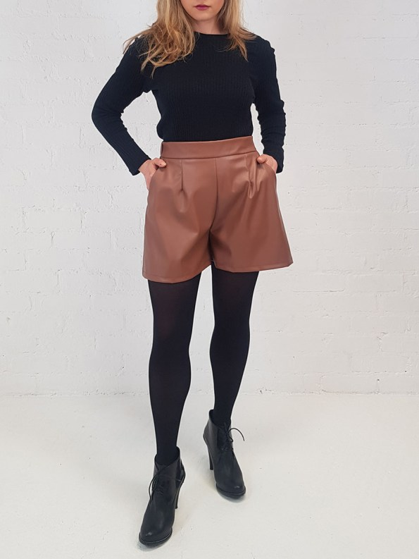 JMVB Faux Leather Shorts Front 2