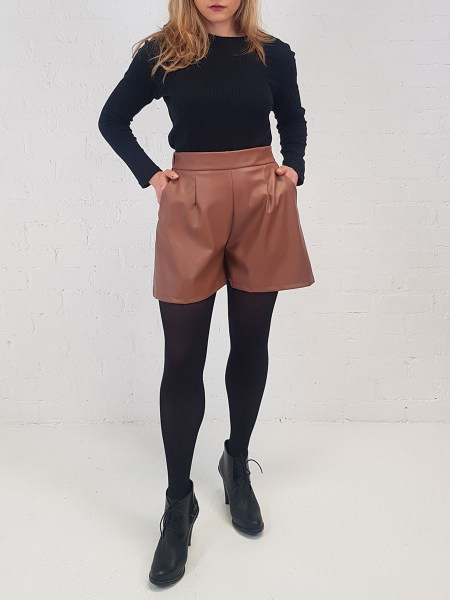 leather shorts women's