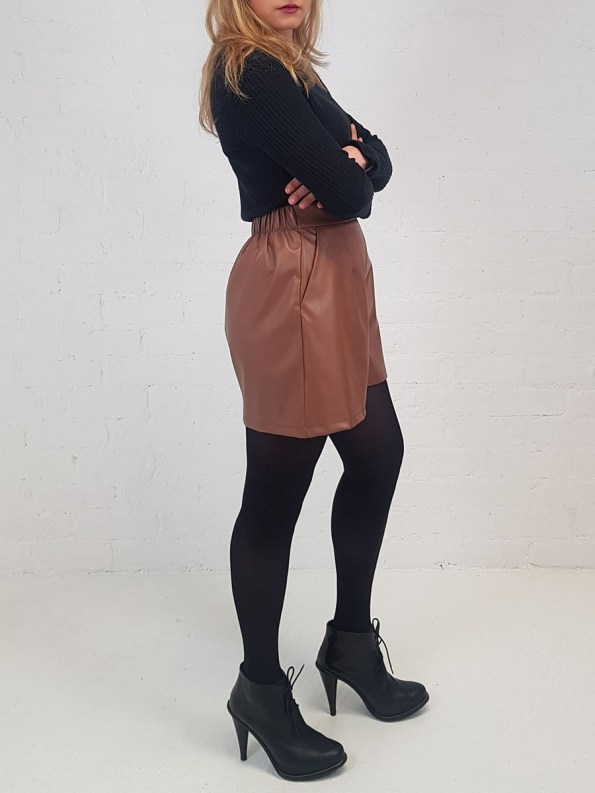 JMVB Faux Leather Shorts Side
