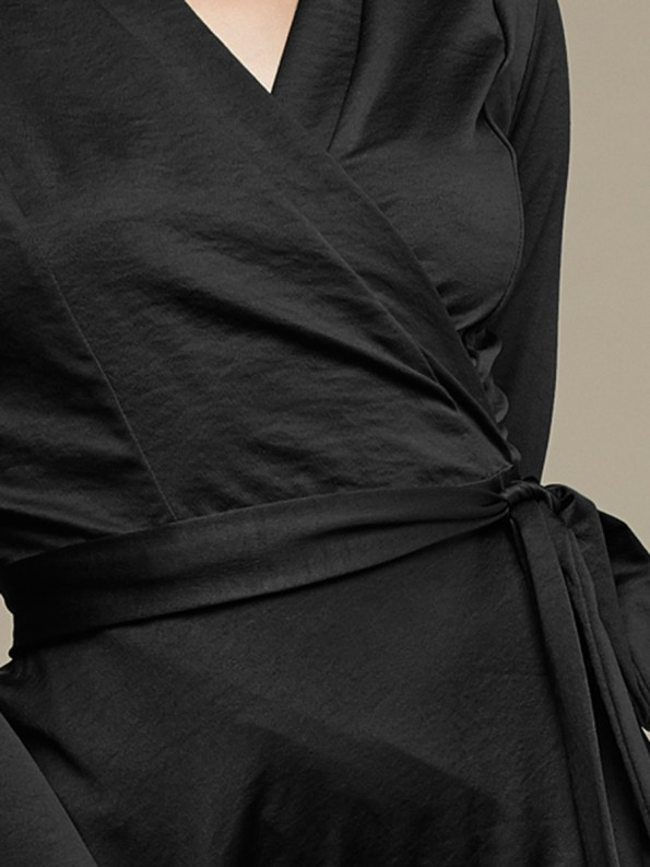 Mareth Colleen Jo Wrap Dress Black Detail