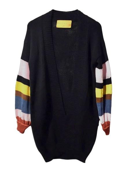 long cotton cardigan black