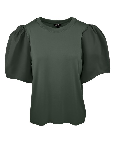 olive green womens T-shirt with puff sleeve
