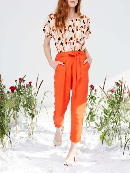 orange pants with pink dots top