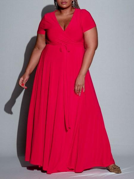 long red wrap dress plus size