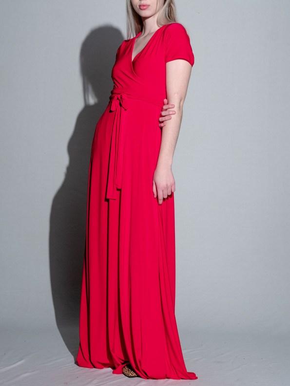 Isabel de Villiers Maxi Wrap Dress Red 4