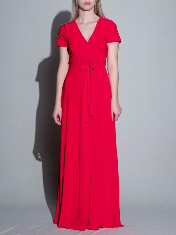 Isabel de Villiers Maxi Wrap Dress Red 5