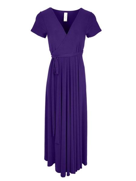 long purple wrap dress