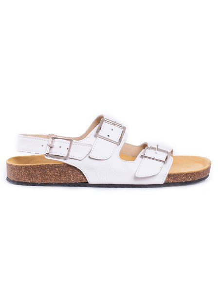 white leather health shoes