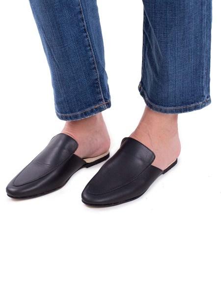 Black leather slip-ons