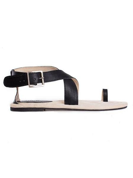 black toe loop sandals