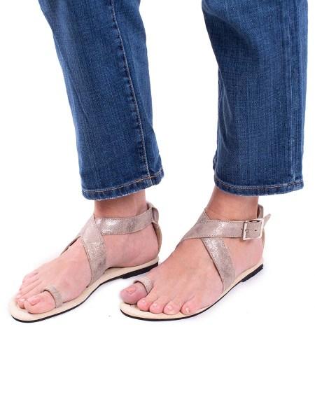Gold toe loop sandals