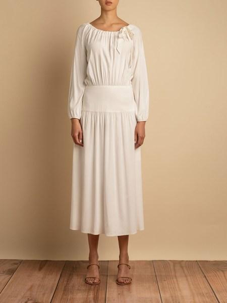 white ivory midi dress