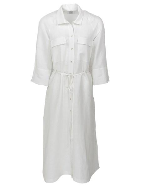 ivory white linen shirt dress