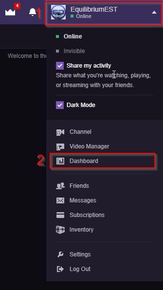 My Twitch Stream Key Menu