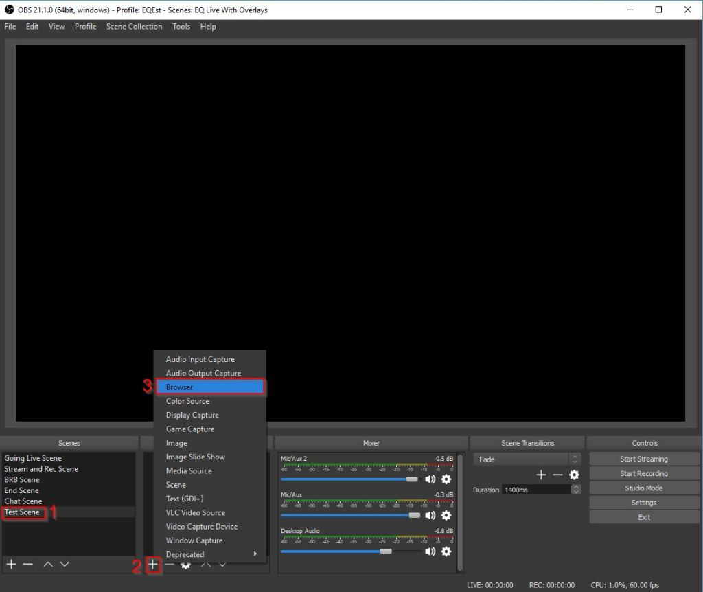Example of OBS Overlay Twitch Overlay URL Create Browser Source 1