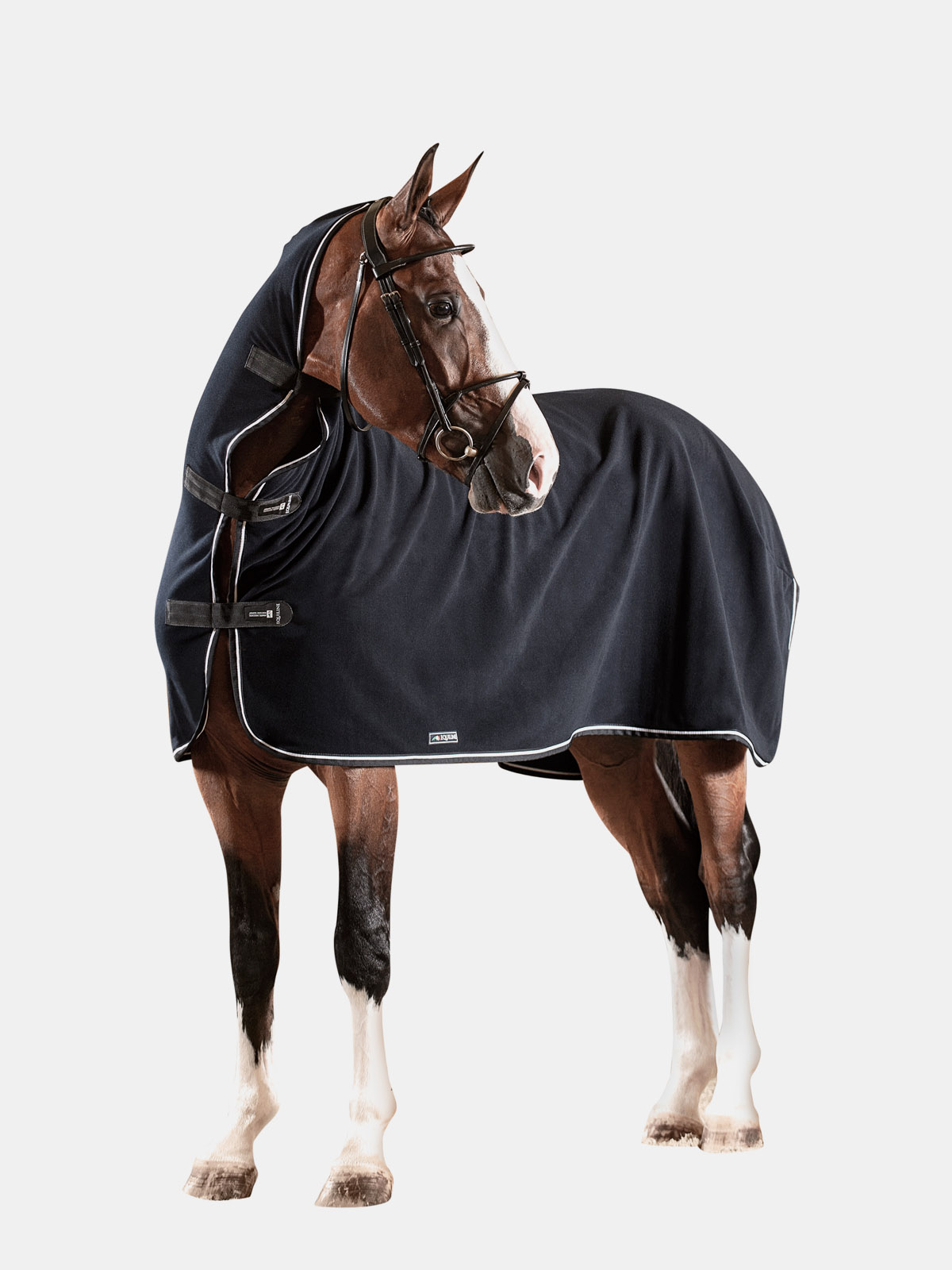 Equiline Sheffield full neck fleece cooler in blue