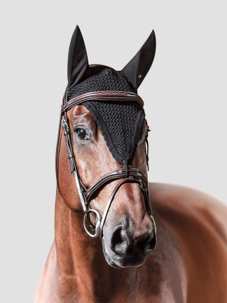 Equiline Loop tie down ear bonnet in black