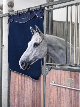 Equiline half stall curtain in navy blue