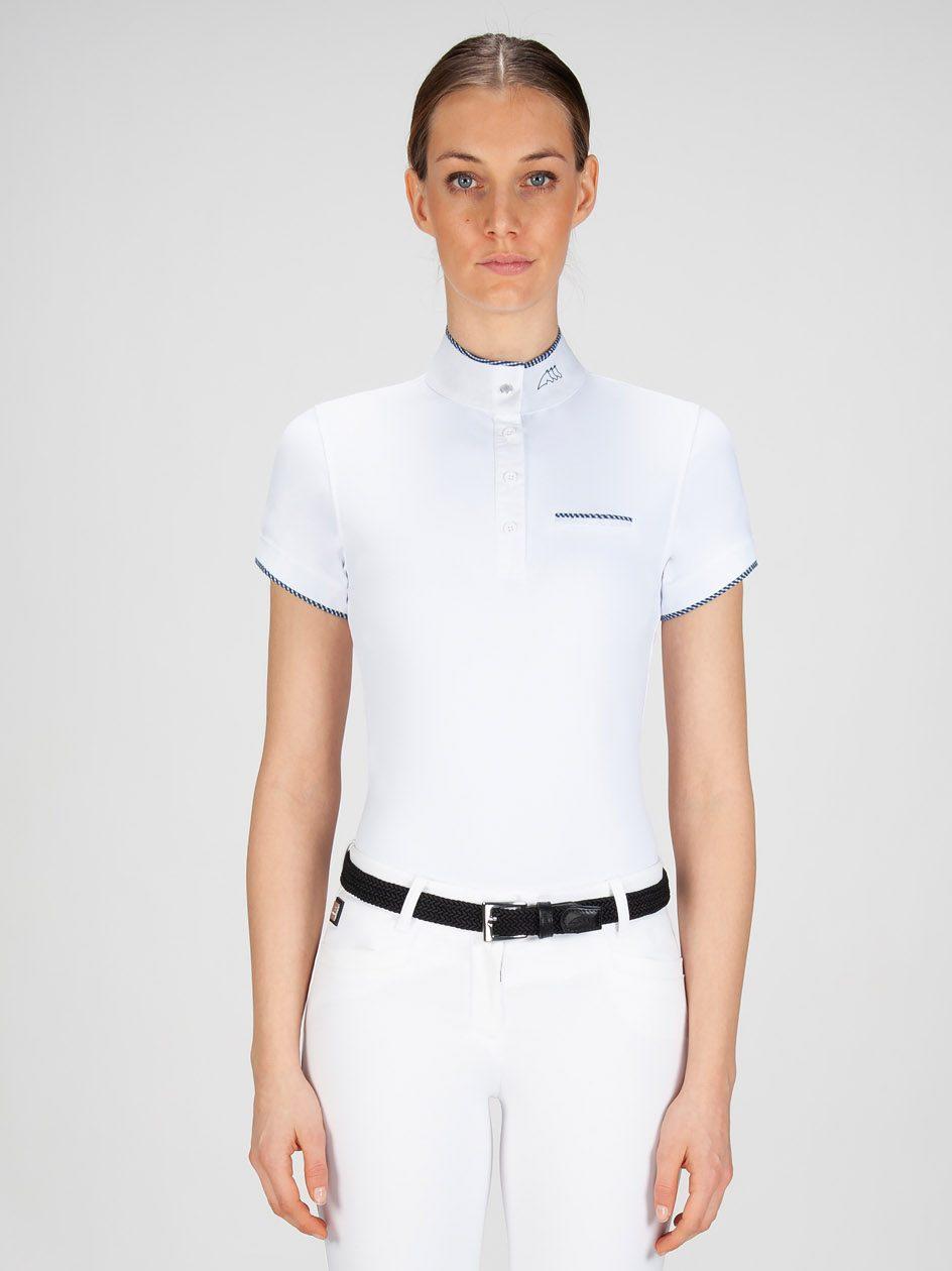GRETA - Women's Show Shirt with White/blue Trim 1