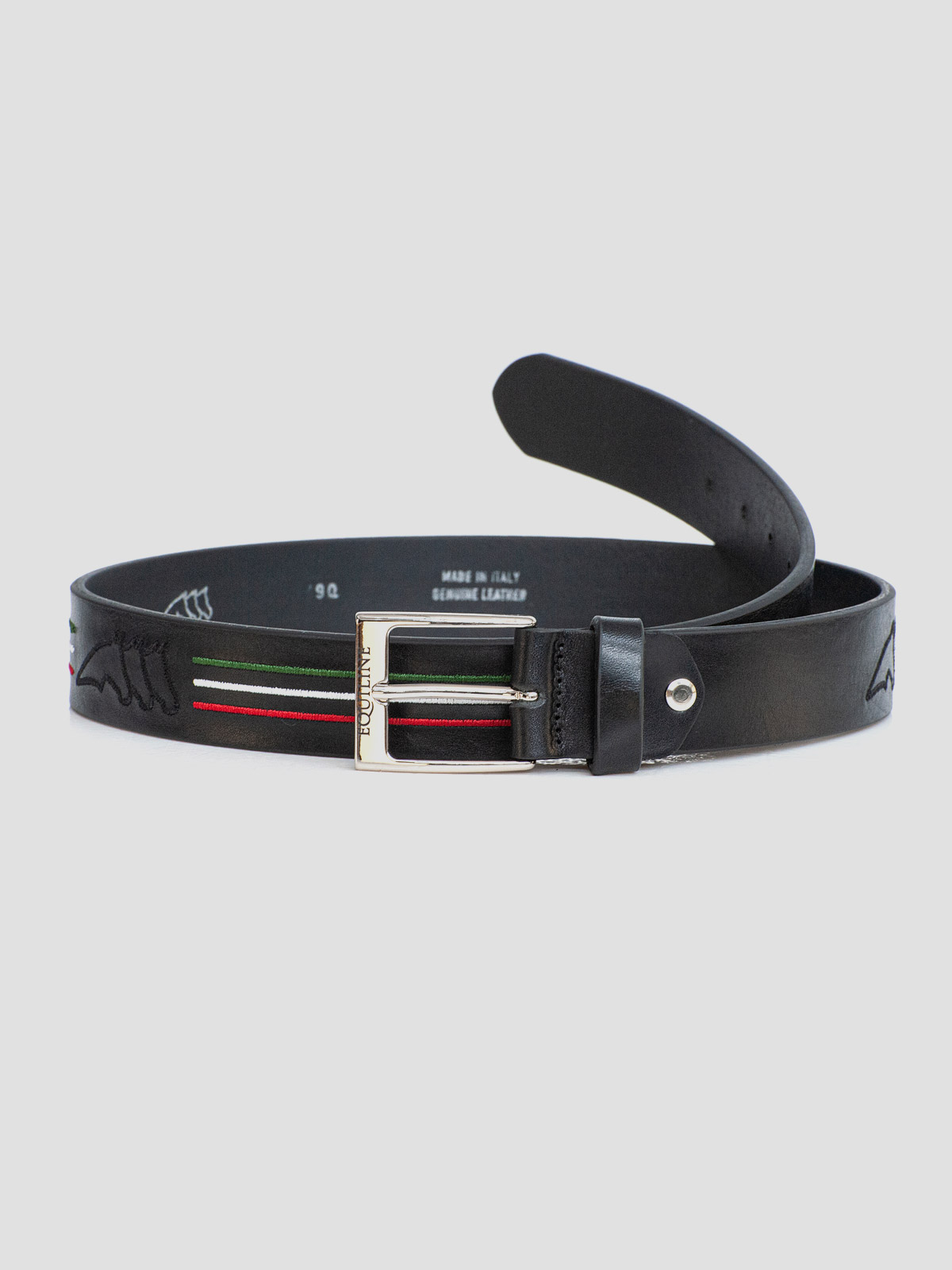 LEATHER BELT WITH OUTLINE LOGO AND ITALIAN-FLAG LINES 1
