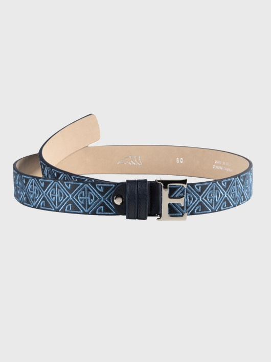 ERVE LEATHER BELT WITH ALL-OVER LOGO EMBROIDERY 1