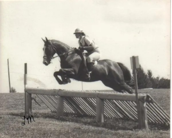 """This was my very first cross country course. Don't you love that """"approved"""" helmet! You can't tell from the photo but it was bright blue."""