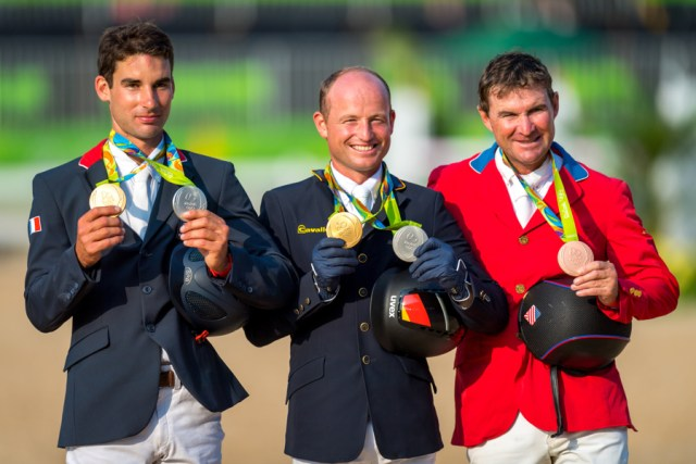 From Left to right Silver Nicolas Astier FRA, Gold Michael Jung GER and  Philip Dutton USA Bronze. Pic Arnd Bronkhorst