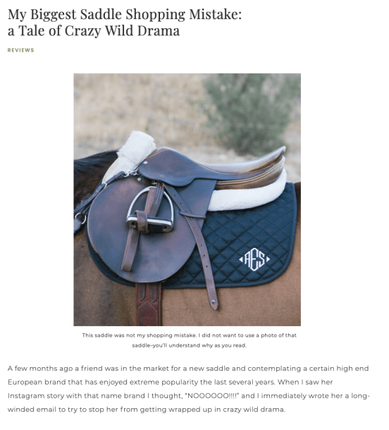 My biggest saddle shopping Mistake