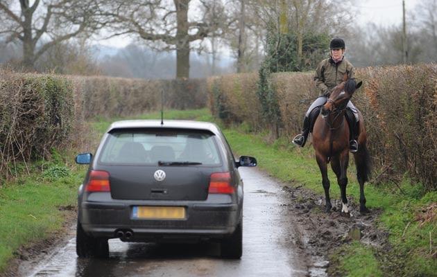 hacking on country lane